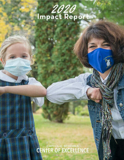 Catholic school principal and student in masks bump elbows